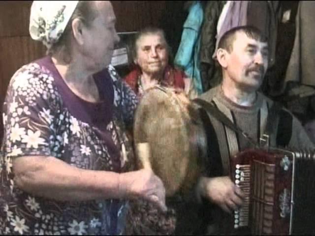 Игра на бубне и гармони. село Воронцовка Полтавского района Омской области
