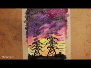 DrawFox. Акварельная живопись для начинающих. Урок 3-1. Ночной пейзаж.
