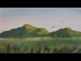 Как нарисовать горы гуашью [Картина за 3 минуты!]