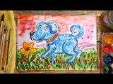 Как нарисовать Голубого Щенка (Собаку). Урок рисования для детей от 4 лет, РыбаКит