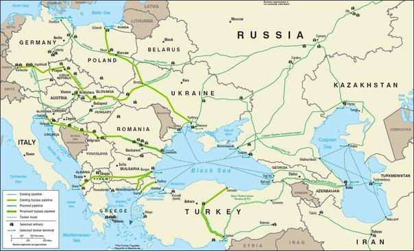 Схема нефтепроводов в Европе