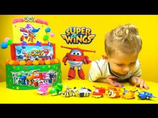 Super Wings airplane mini toys. Cake Surprise Toys. Супер крылья торт с сюрпризами