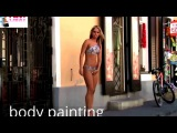 body panting art-painted bikini