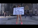 Milo Moiré manifeste nue contre les abus sexuelles perpétrés à Cologne