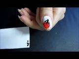 Простой рисунок на ногтях иглой.Божья коровка 2
