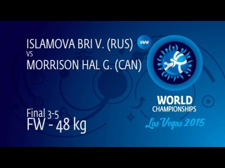 BRONZE FW - 48 kg: G. MORRISON HAL (CAN) df. V. ISLAMOVA BRI (RUS), 4-2