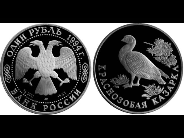 1 рубль 1994 года. Краснозобая казарка.