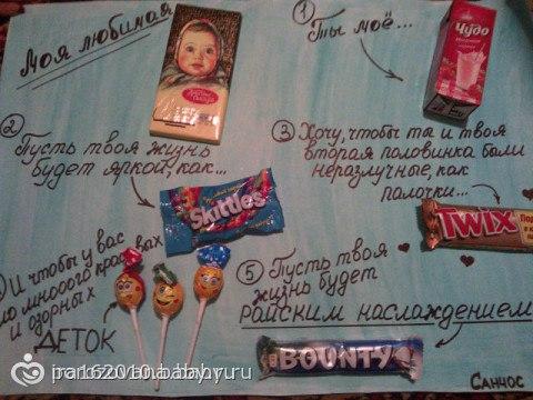Плакат поздравление с днем рождения шоколадками