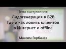 Лидогенерация в B2B. Где и как ловить клиентов в Интернет и offline. Максим Горбачев