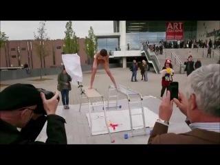 Performance Artist Milo Moiré Performs 'Plop Egg'