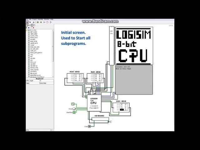 LOGISIM 8 bit CPU Computer - v1