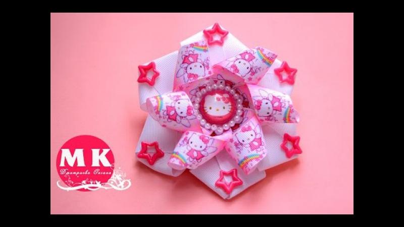 Мастер класс Канзаши Резинка для волос Бант из репсовой ленты с Китти Bow of Ribbon with Kitty