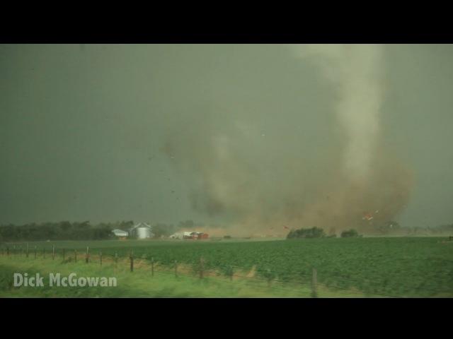 Multi-vortex tornado destroys barn, dances on pond! Alpena, SD Tornado June 18, 2014