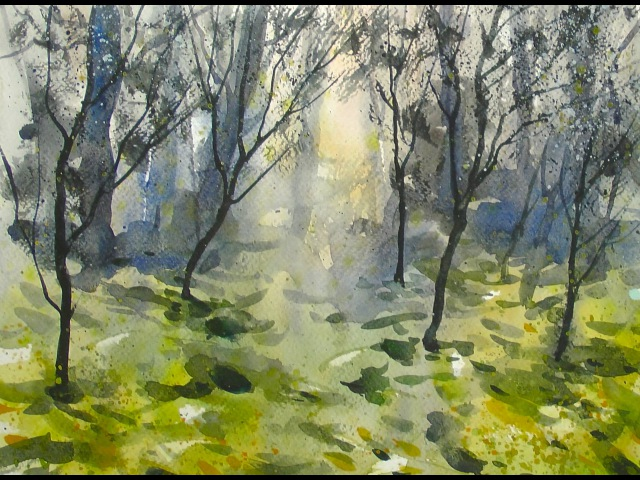 Watercolor - Dream forest - 20x speed painting demo
