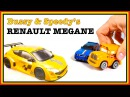 Toy Car Construction: Bussy Speedy RENAULT MEGANE - Toy Train Trip! Trains for Cars