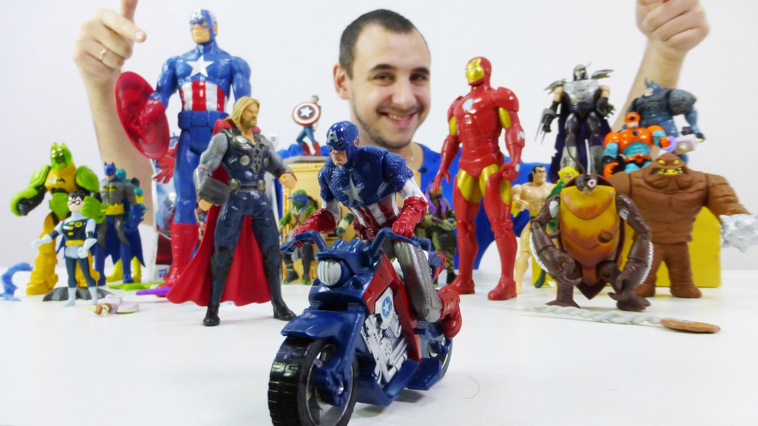 СуперГерои Марвел. Капитан Америка и Железный человек! Обзор от папы Робы. Видео для детей