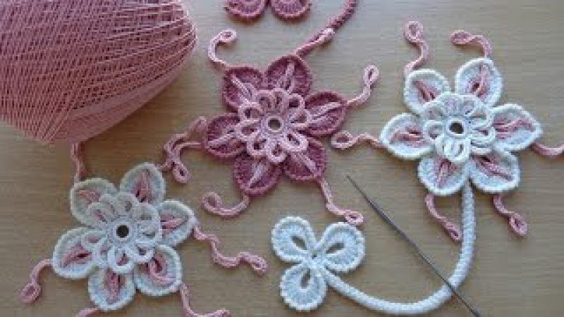 Уроки вязания - Цветок крючком - Ирландское кружево - Flower for Irish lace - How to crochet flower » Freewka.com - Смотреть онлайн в хорощем качестве