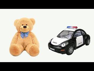 Полицейская машина Полис и Веселый Медвежонок смотрят мультфильм - раскраску. Police Car and Bear