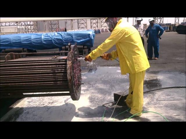 Очистка теплообменника установкой АГДН. Clean heat exchanger with AHDP.