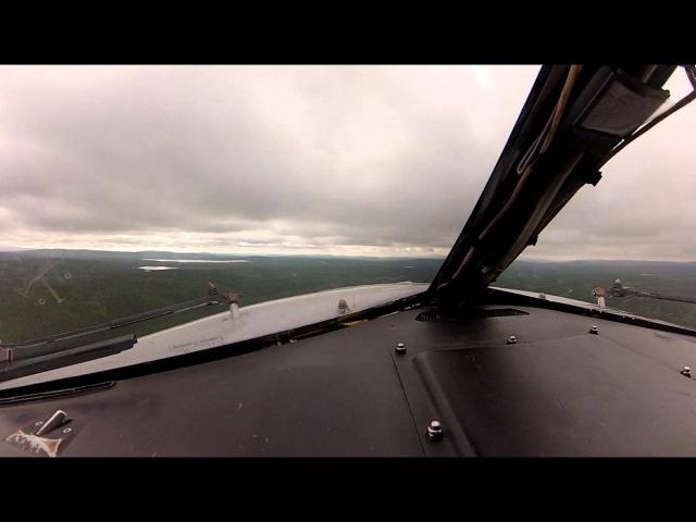 Взлет в Мурманске, проход через облачность