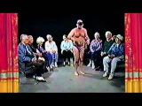 Half Naked Man in Mask Dancing for Old People