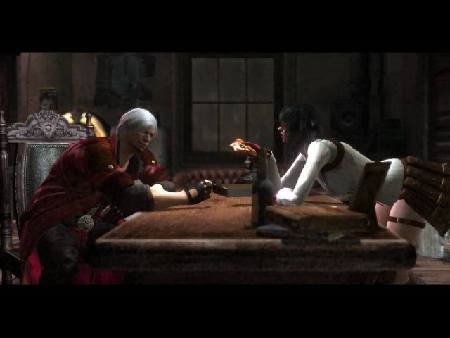 Devil May Cry 4 Cutscene (Dante, Lady, and Trish in office) 720p HD