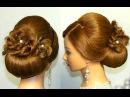 Прическа для длинных и средних волос. Валик с цветами из волос.