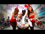 PLAYMATES HAVE FUN WITH RIDERS on street !