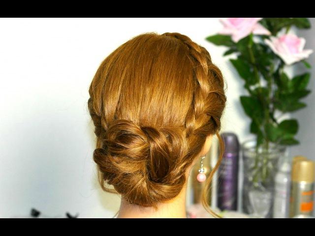 Прическа для длинных и средних волос. Две косы с пучком.