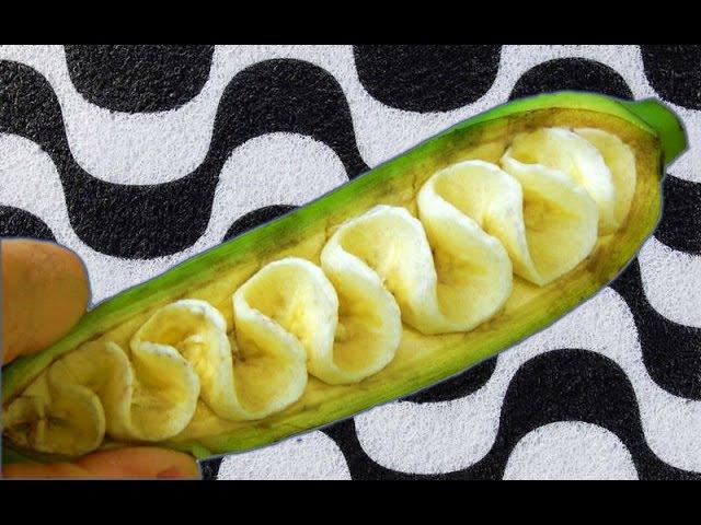 Art in banana, escultura em banana, banana garnish, arte com bananas, banana carving