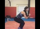"Melissa Haywood Band squats with kickbacks to warm up before today's leg session with @emmablocksage squats improvementtime bikini ifbbpro ukbff goals"""