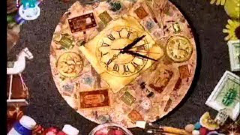 Декупаж Декорируем поднос и часы используя трехслойные бумажные салфетки Мастер класс смотреть онлайн без регистрации
