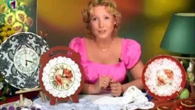 Обратный декупаж В технике имитация кружева декорируем часы и тарелочку Мастер класс смотреть онлайн без регистрации