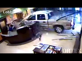 Old Man Angry About Bill Crashes His Truck Into Hotel Lobby