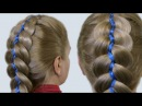 Как Плести Косы с Лентами Видео 5 Strand Ribbon French Braid Headband on Yourself Hairstyle