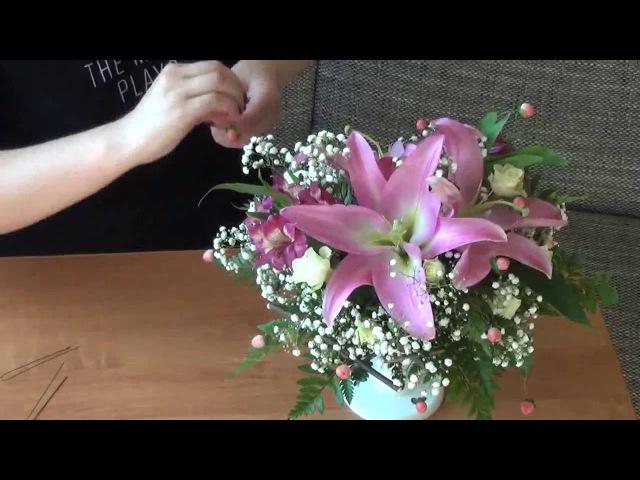 Изготовление букета (Оазис) с цветами ♥Лилии, Альстромерия, Кустарные розы♥ на ...