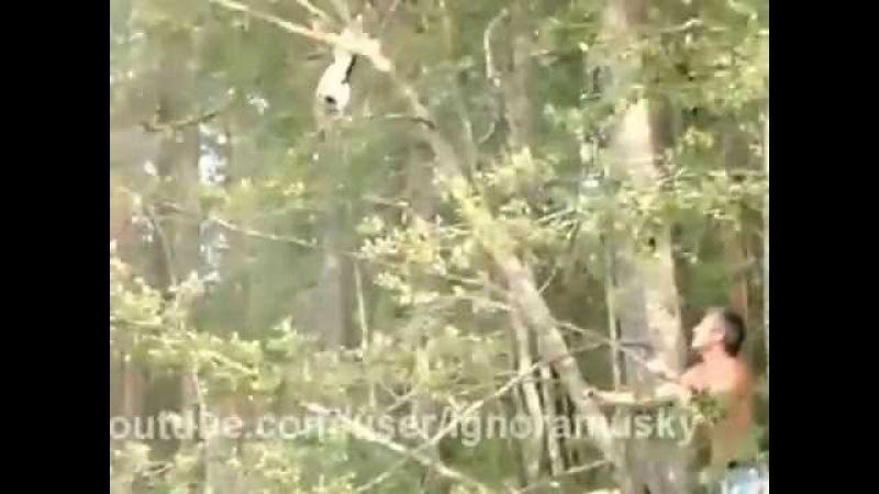 как мужик спас кота /Cat rescue fail АХАХАХААХ РЖАЧ))