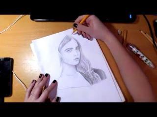 Портрет Кары Делевинь, карандаш | Cara Delevingne's portrait, pencil