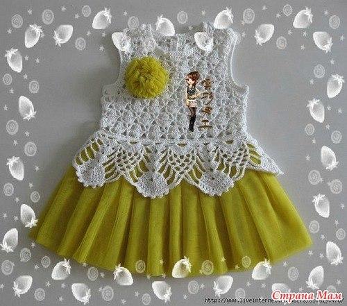 Комбинированное платье с вязанием и тканью для девочки видео