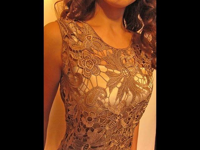 Как сделать невидимые вытачки в кружевном платье Обработка пройм и горловины в платье из кружева