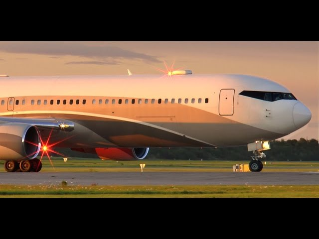 Roman Abramovich Boeing 767 300 VIP Sunset Takeoff at Copenhagen Airport