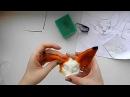 Сухое валяние Мастер класс валяная игрушка лисенок 2 этап обшивка цветной шерстью