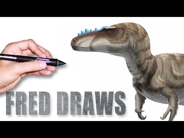 Alioramus for Wikipedia | Dinosaur Timelapse Paint | Fred Draws
