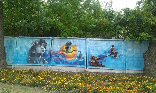 В Луганске появилась стена уличного «граффити» (ФОТОФАКТ), фото-3