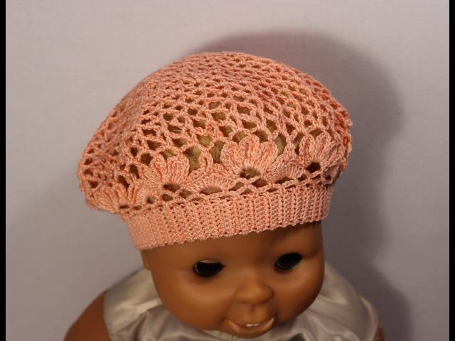 Как связать детский летний берет крючком.How to crochet beret crochet_beret Вяжем по схемам