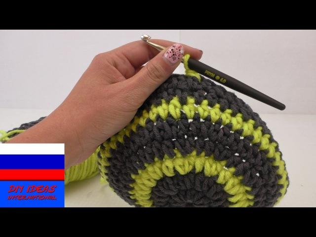 Невидимый переход на новый ряд в полосатых узорах вязание крючком