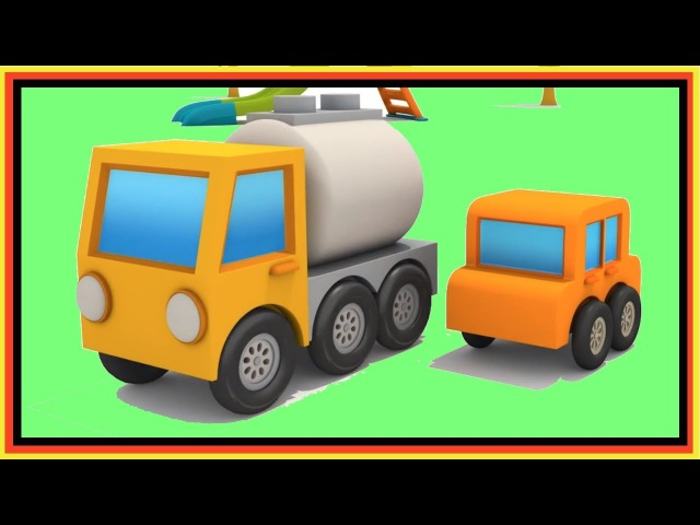 Car cartoon and hide and seek surprise egg games for kids. Excavator Max and gas Truck.
