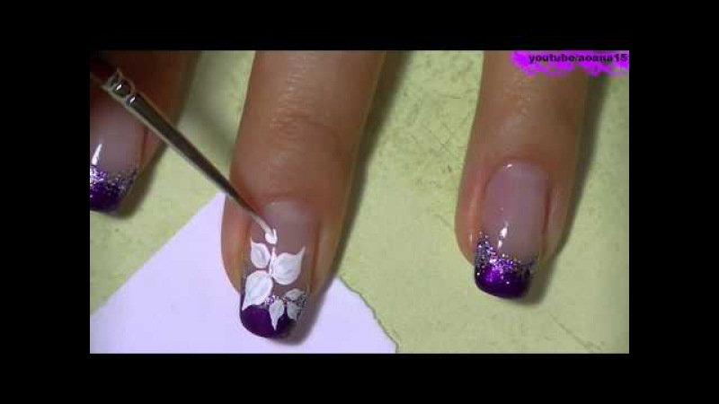 Красивый рисунок на ногтях сделанный лаком и акварельными красками