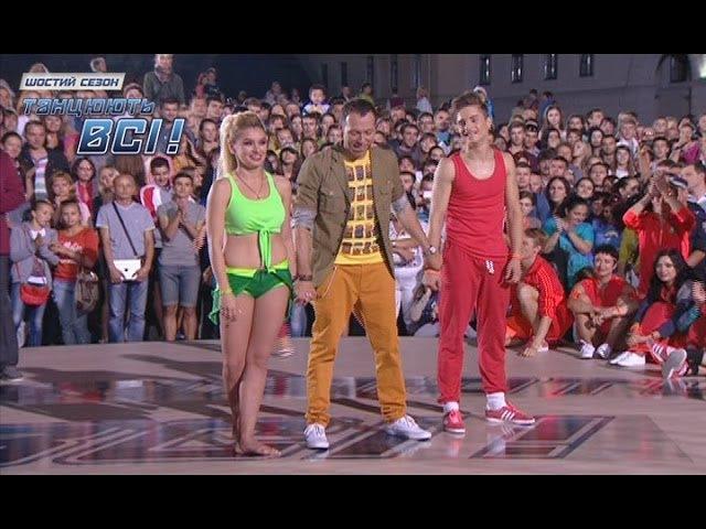 Танцевальный батл на Майдане сексуальная девушка против парня Танцуют все