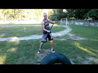 Тренировка с 13 кг кувалдой и колесом Вячеслав Гарькавенко